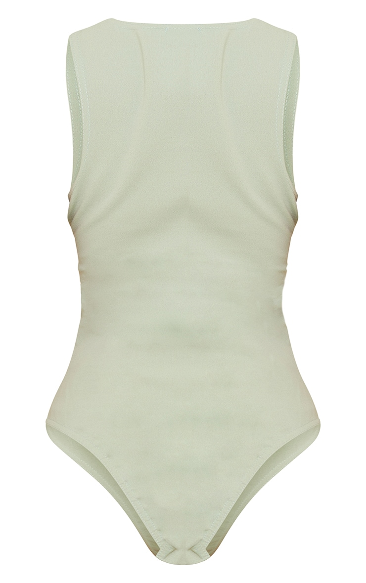 Sage Green Ponte Racer Back Thong Bodysuit 6