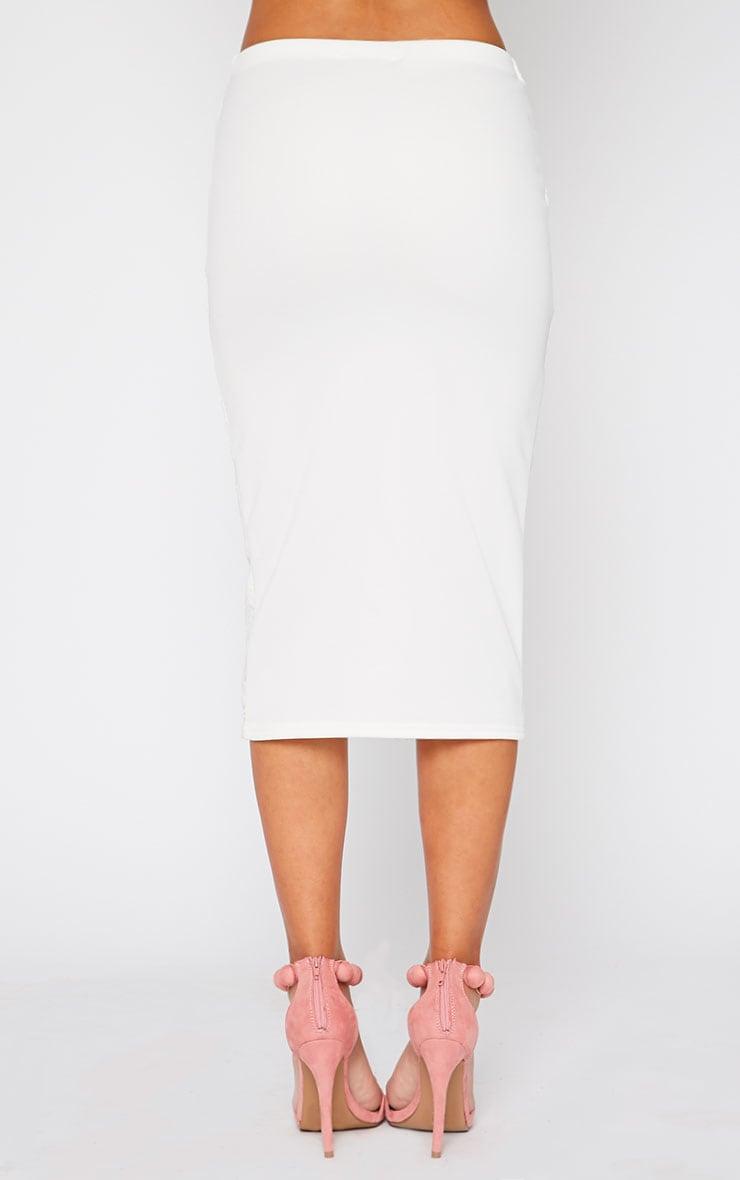 Danita Cream Lace Front Midi Skirt 4