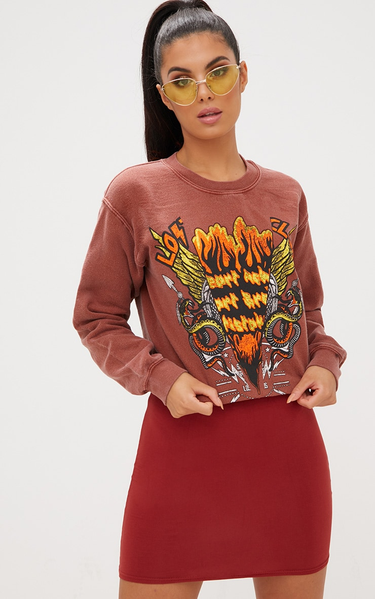 Rust Slogan Print Spliced Oversized Crop Sweater 2