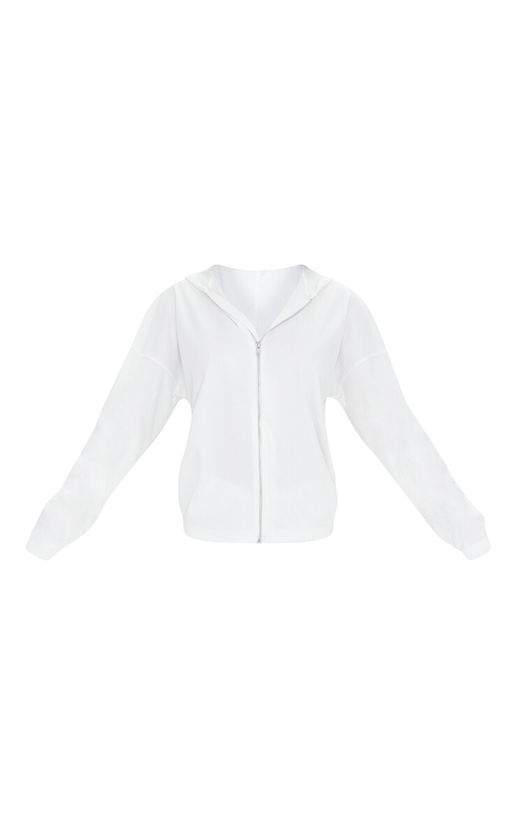 Cream Heavy Rib Zip Through Hooded Jacket 5