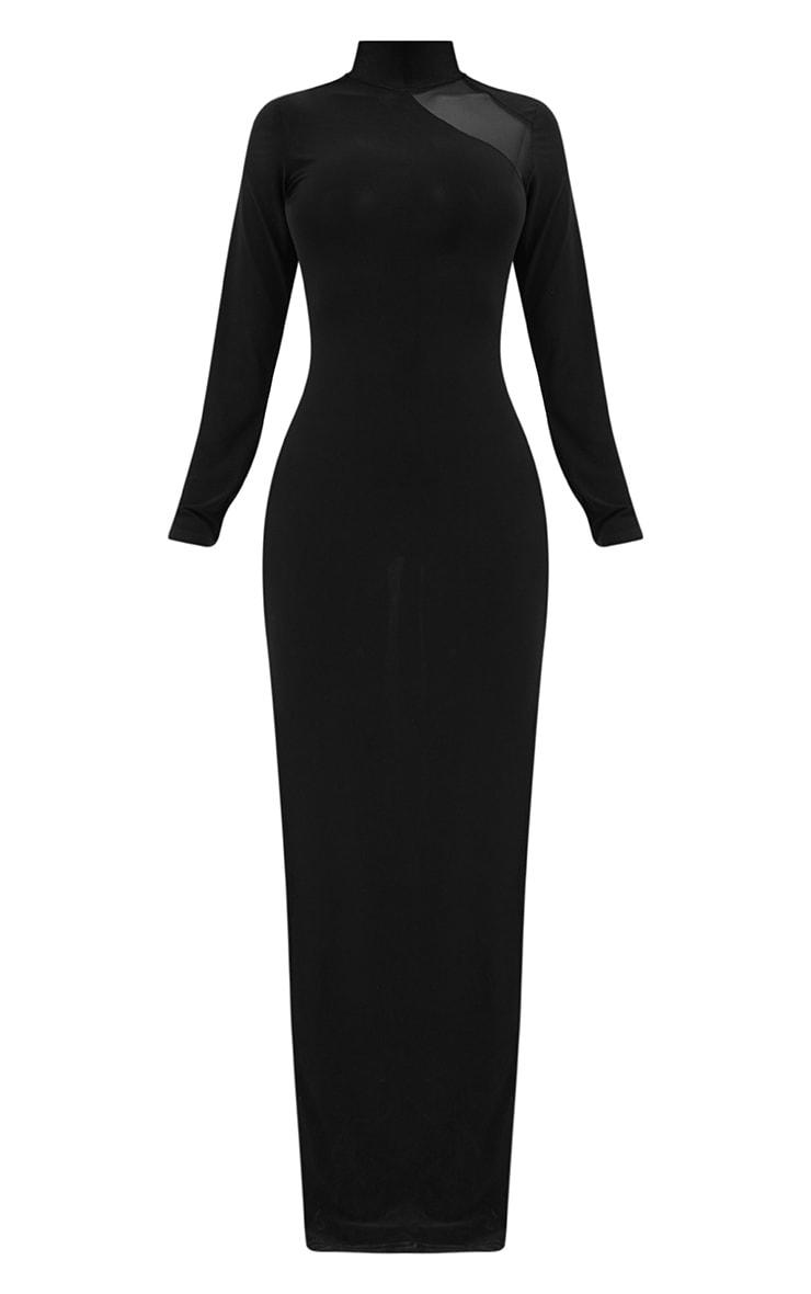 Shape Black Slinky Mesh Insert Maxi Dress 3