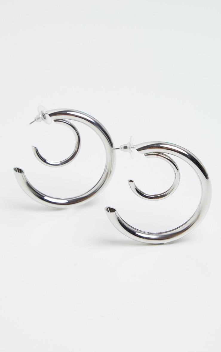 Silver Double Chunky Tubular Earrings 1