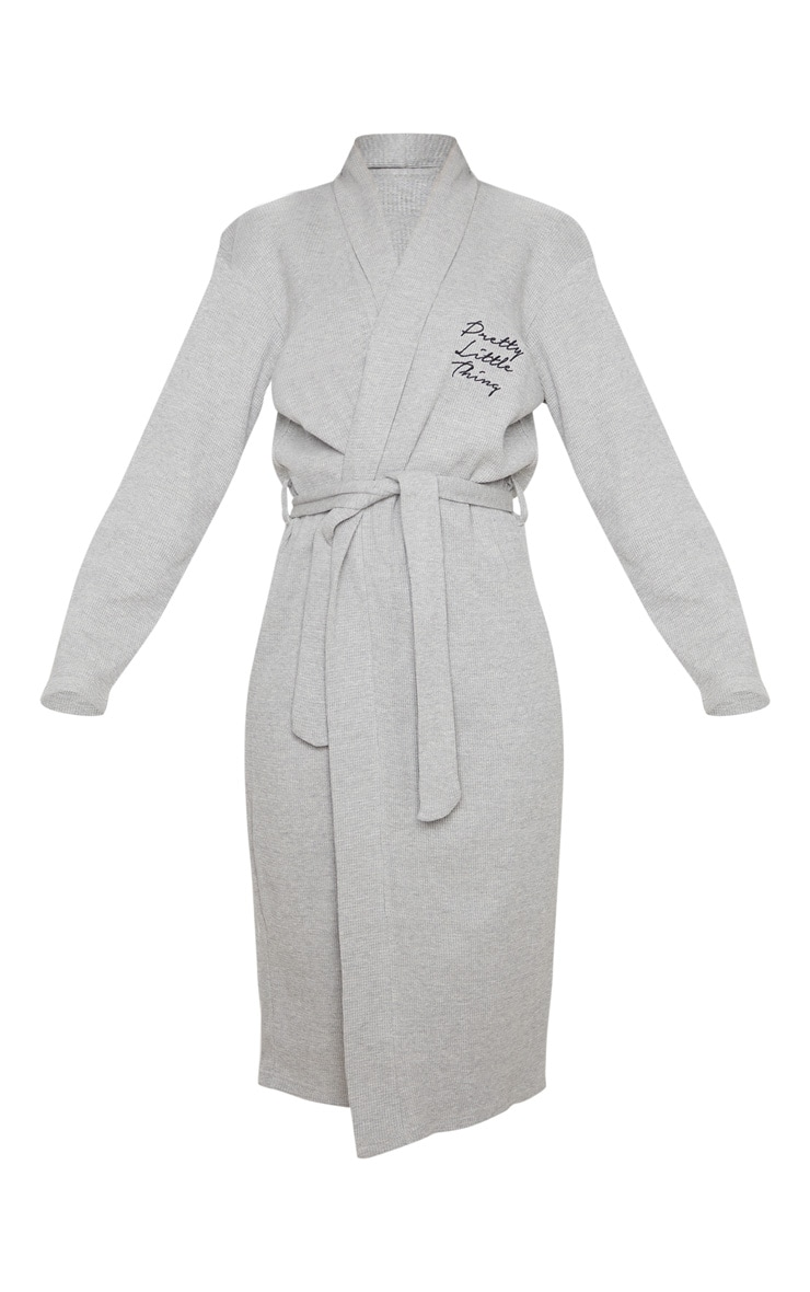 PRETTYLITTLETHING Grey Embroidered Long Waffle Dressing Gown 5