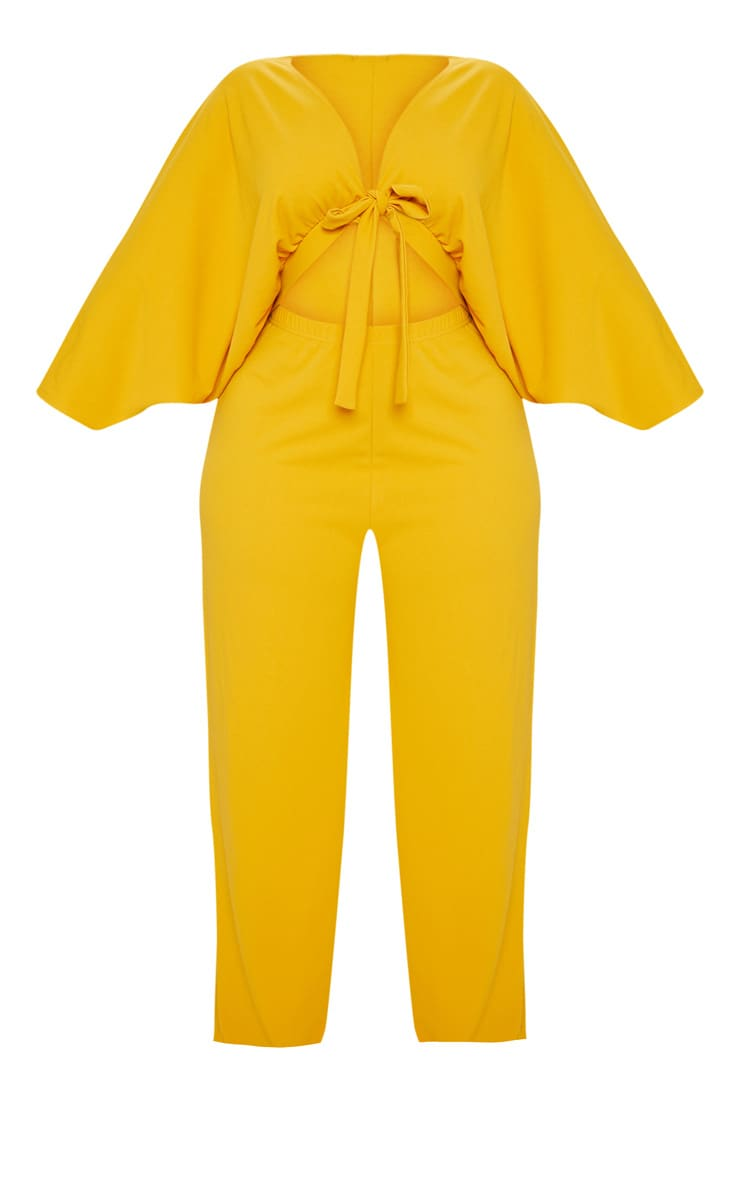 Plus Mustard Crepe Batwing Cut Out Jumpsuit 3
