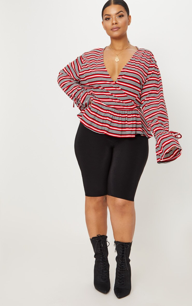 Plus Red Striped Deep Plunge Blouse  4