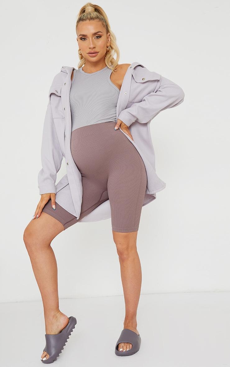Maternity Mauve Contour Bump Support Ribbed Bike Shorts 1