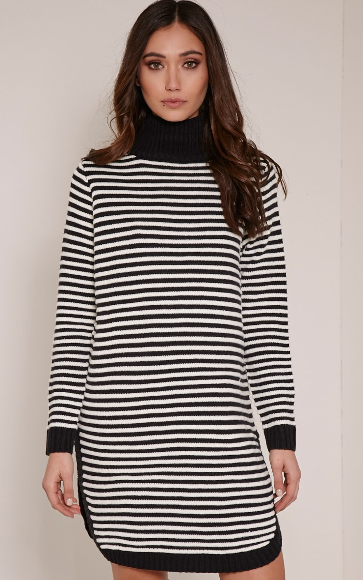 Helena Monochrome Stripe Dolphin Hem Jumper Dress 1