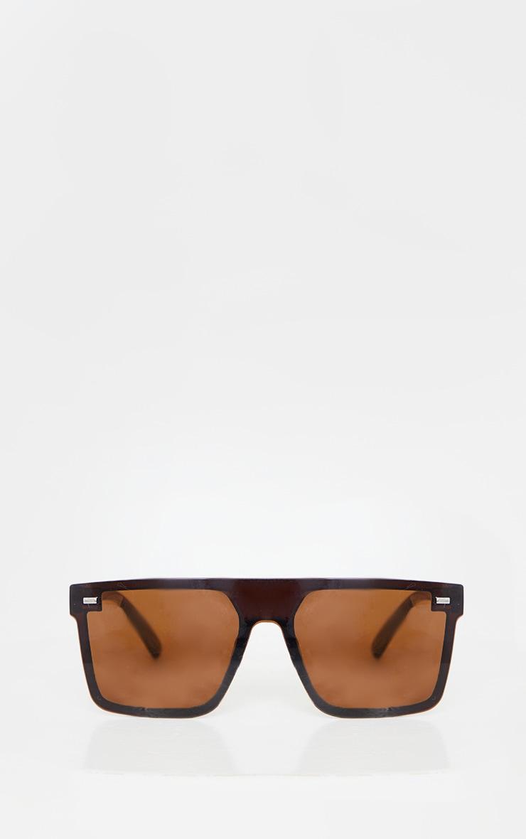 Brown Oversized Resin Frame Fade Lens Sunglasses 3