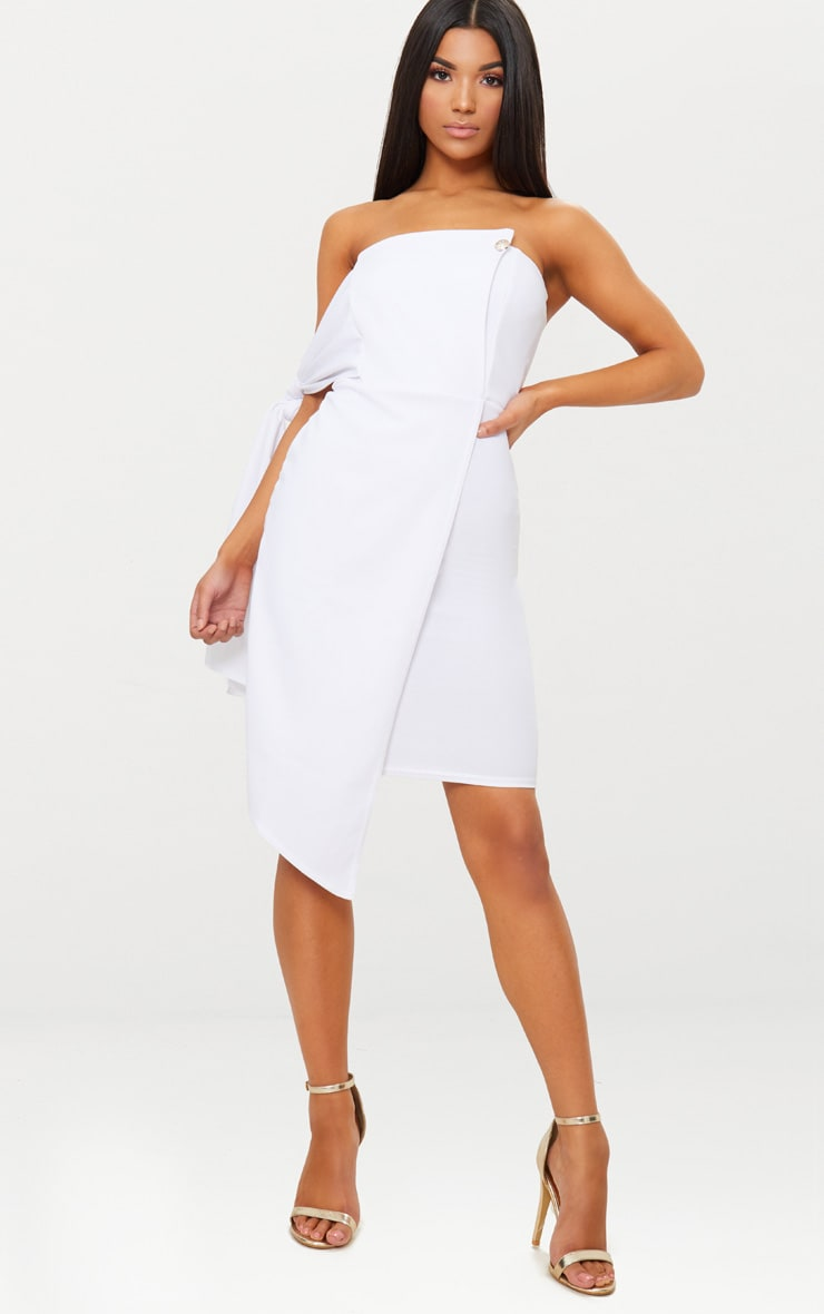 White Tie Detail Wrap Front Bandeau Midi Dress 1