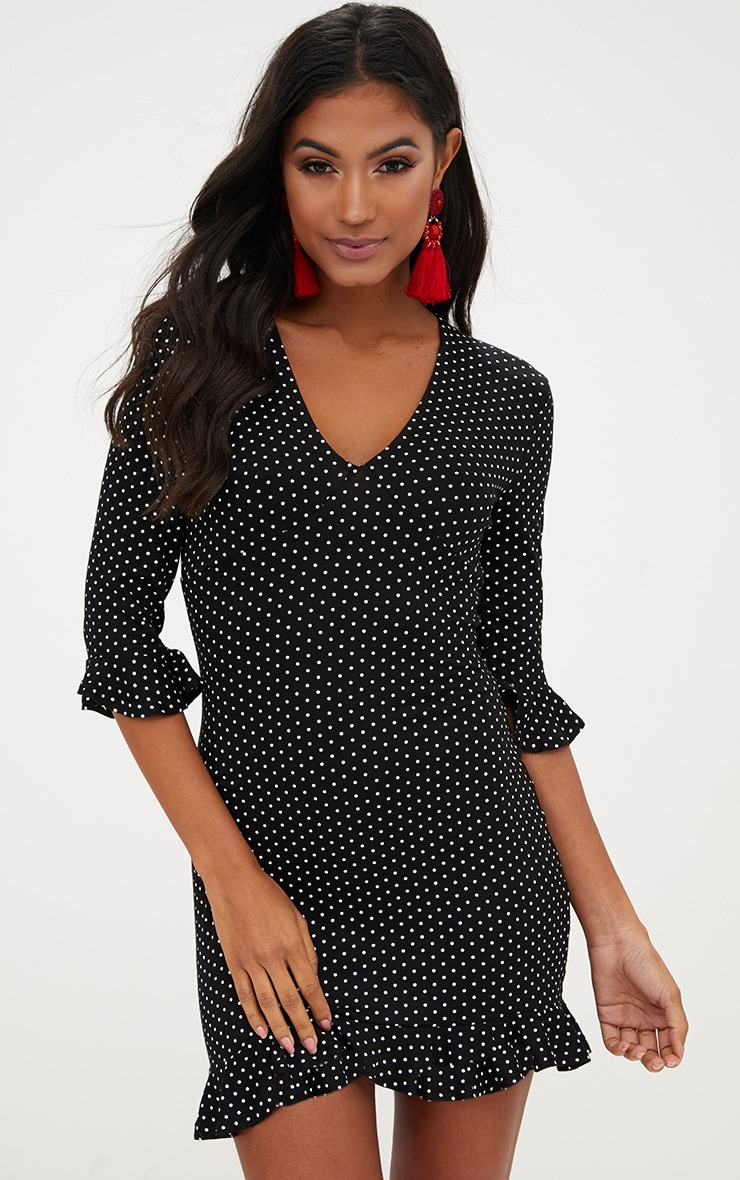 Black Polka Dot Frill Hem Shift Dress 1