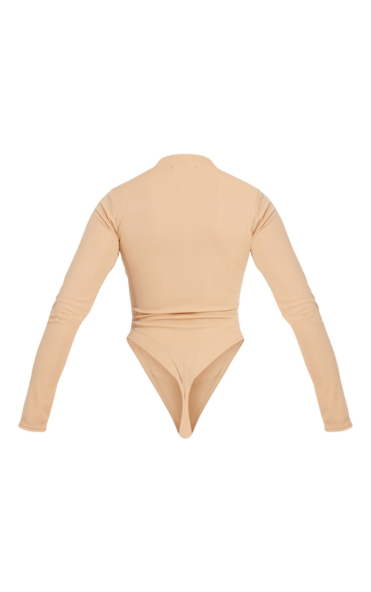 Camel Rib Zip Up Long Sleeve Bodysuit 5