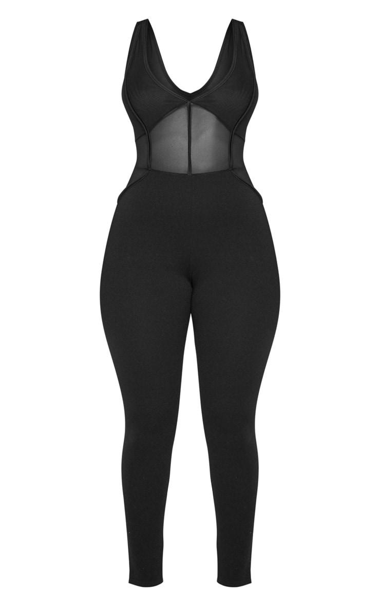 Shape Black Mesh Panel Jumpsuit 3