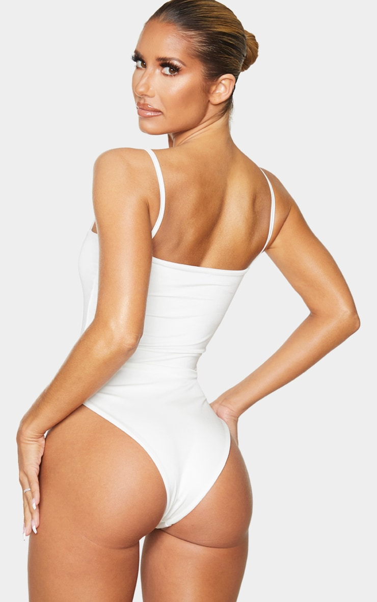 White Straight Neck Swimsuit 2