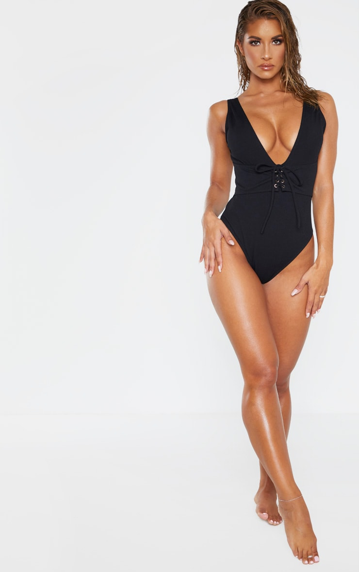 Black Rib Plunge Lace Up Belted Swimsuit 3