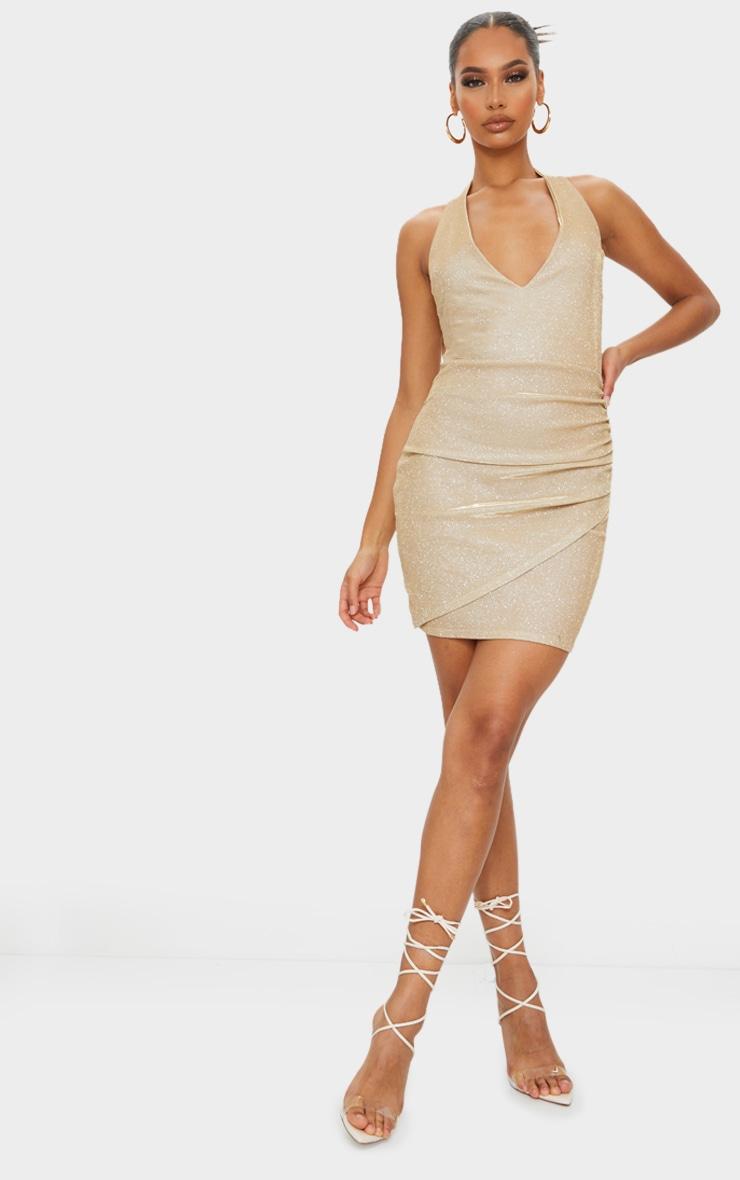 Gold Glitter Halterneck Ruched Wrap Skirt Bodycon Dress 3
