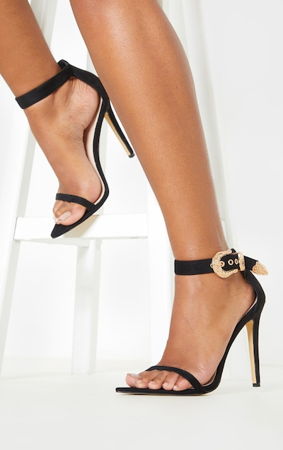 Black Western Buckle Point Toe Sandal