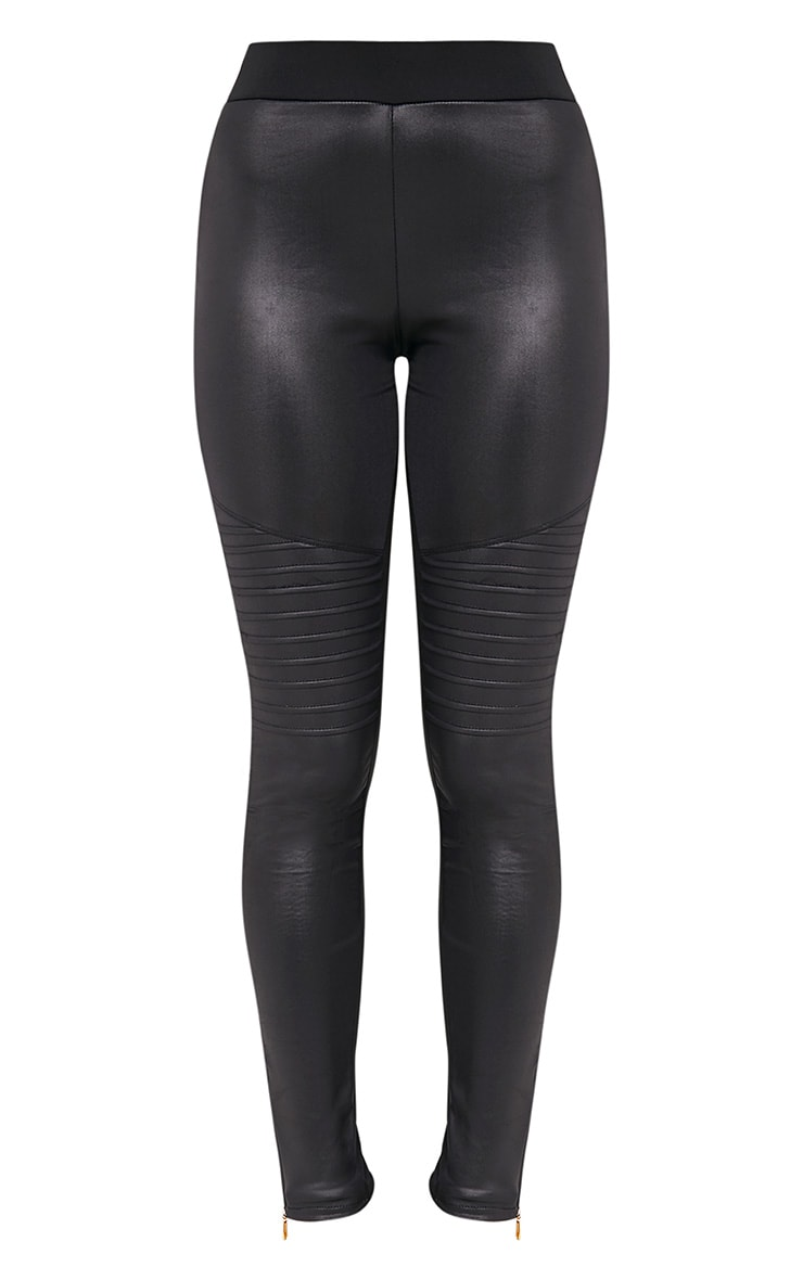 Lillia Black Faux Leather Side Zip Biker Leggings 3