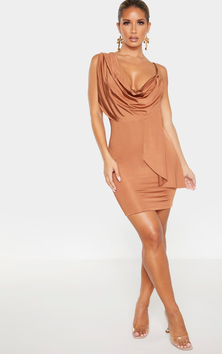 Mocha Metallic Slinky Drape Front Bodycon Dress 4