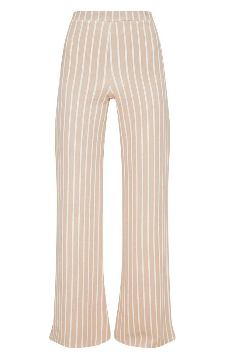 Stone Crepe Pinstripe Wide Leg Trouser 3
