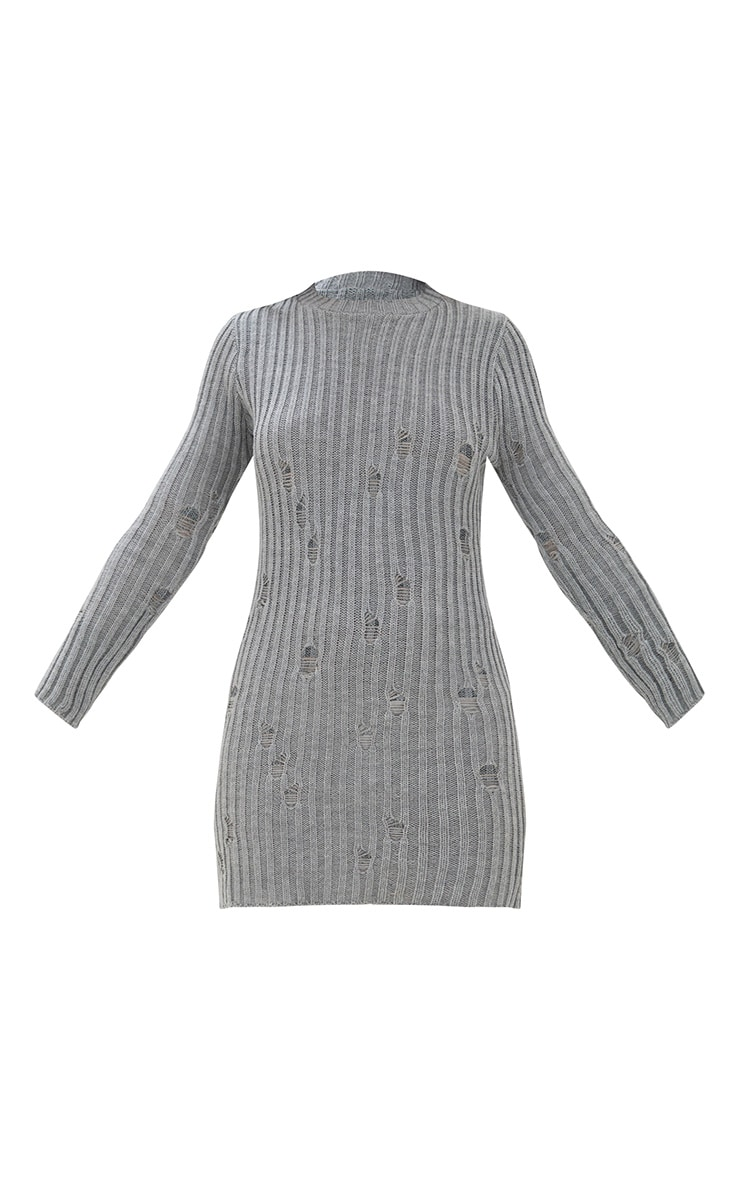 Grey Distressed Jumper Dress 3