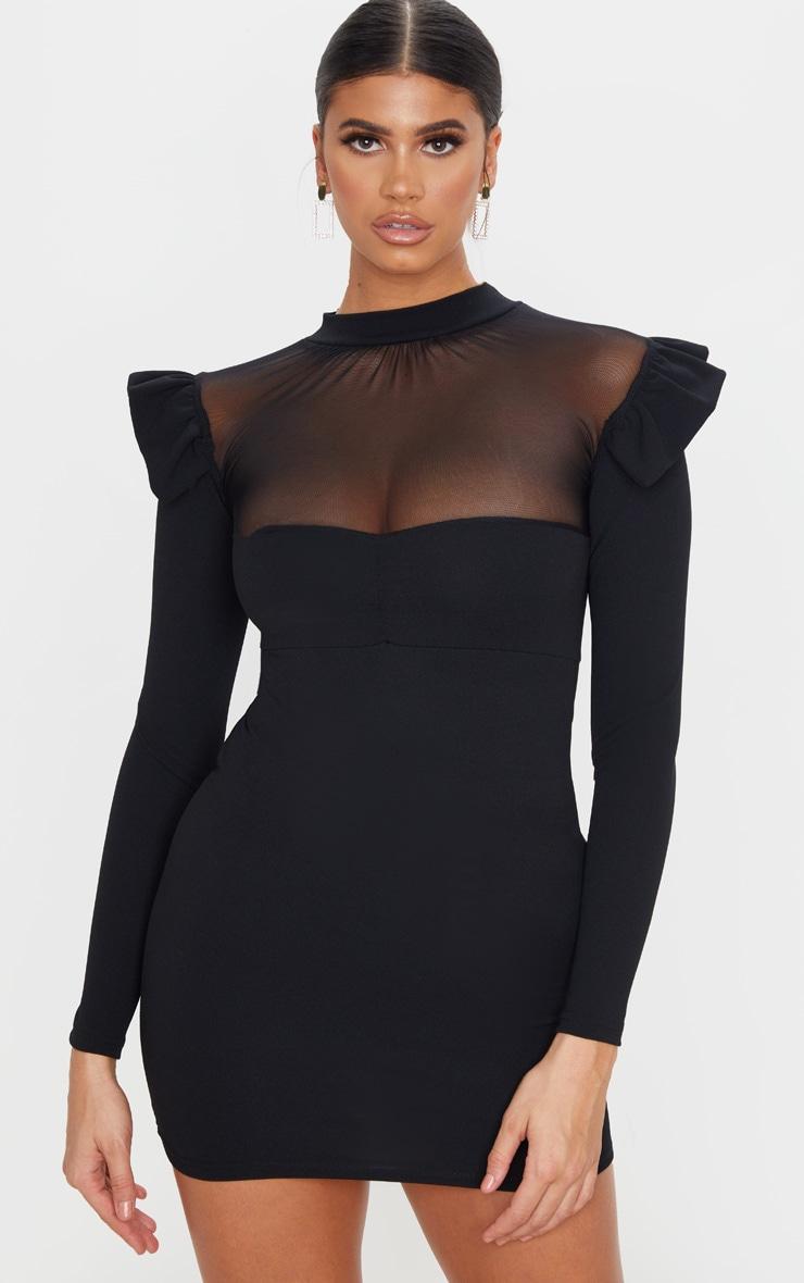 Black Frill Shoulder Mesh Insert Long Sleeve Bodycon Dress 1