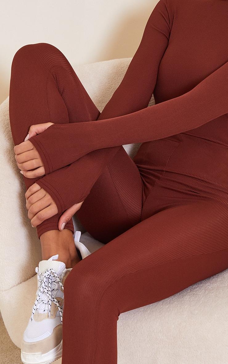 Chocolate Rib Long Sleeve Thumb Hole Jumpsuit 4