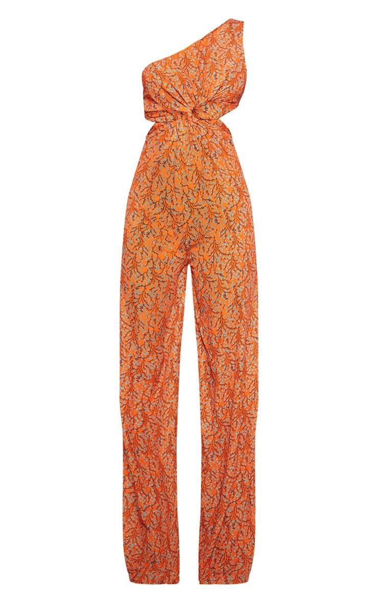 Orange Floral Cut Out Twist Detail One Shoulder Jumpsuit 3