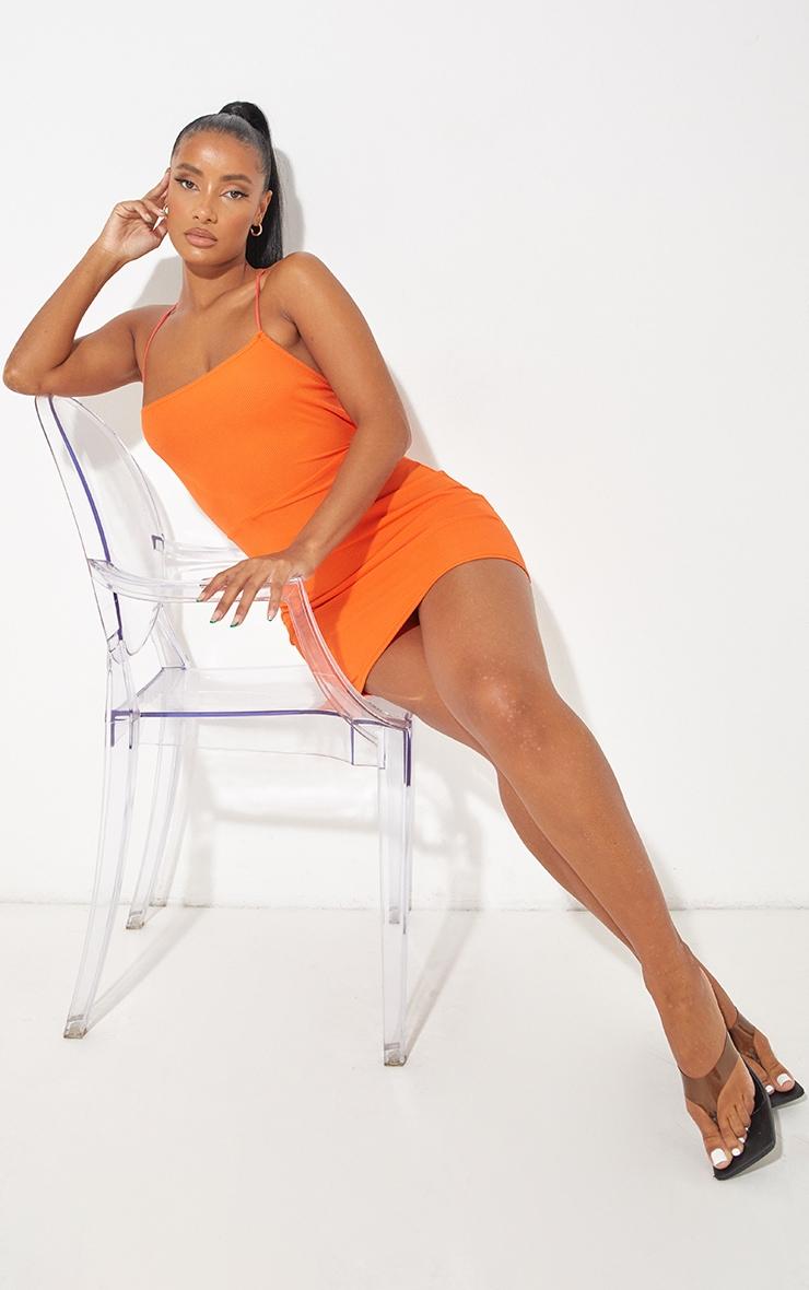Orange Ribbed Lace Up Back Bodycon Dress 3