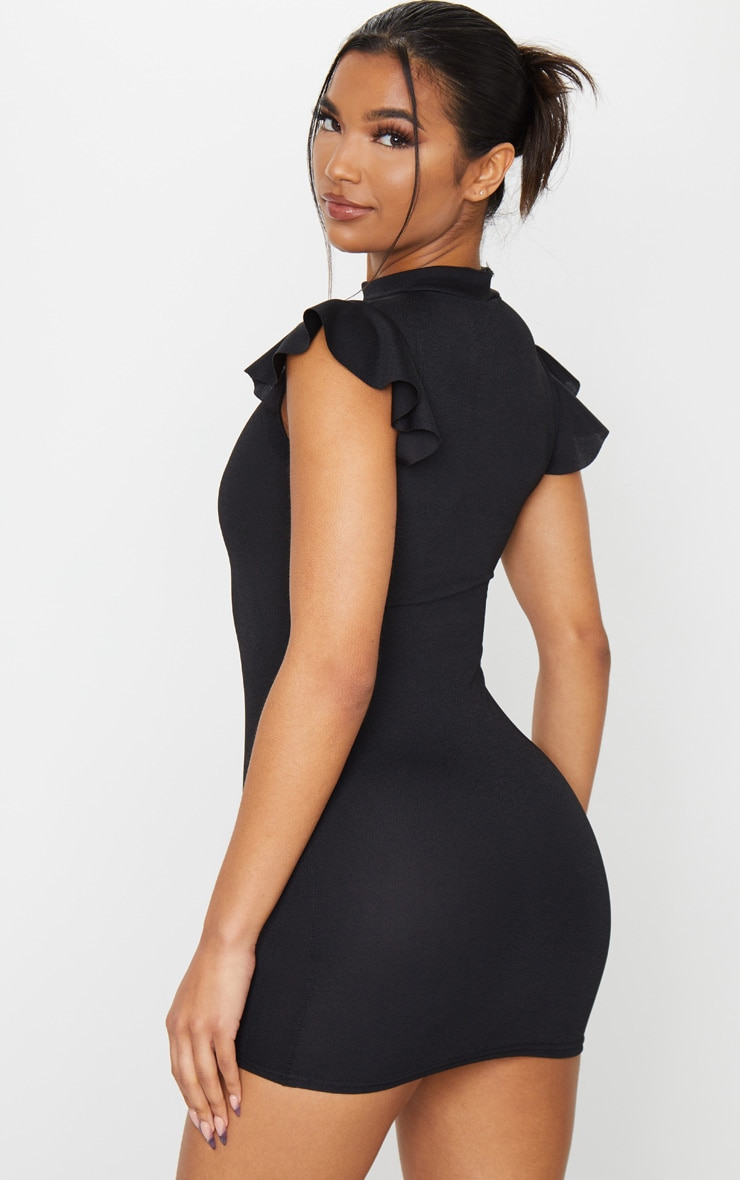 Black High Neck Cap Sleeve Bodycon Dress 2