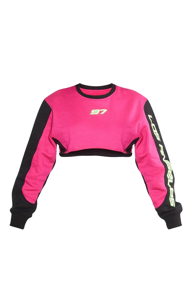 Petite Hot Pink 97 Printed Crop Sweater 6