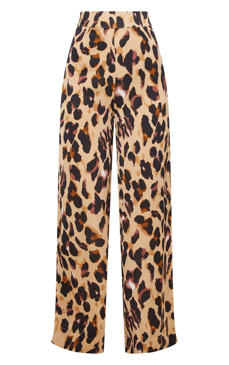 Leopard Print Satin Wide Leg Trousers 3
