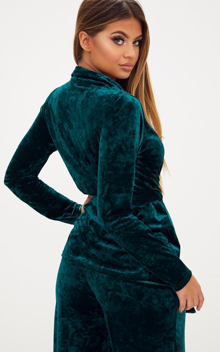 Emerald Green Crushed Velvet Belted Blazer 2
