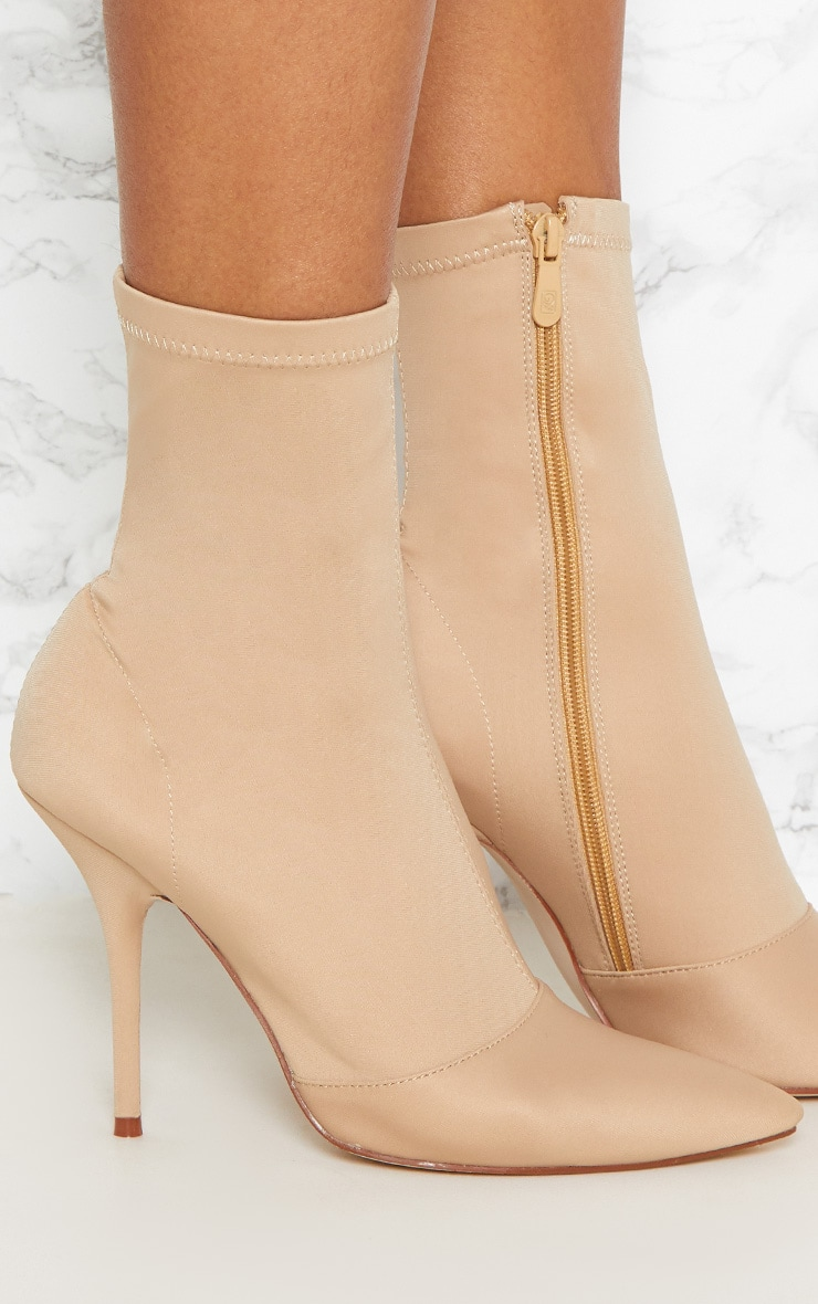 Beige Neoprene Heeled Sock Boot 4