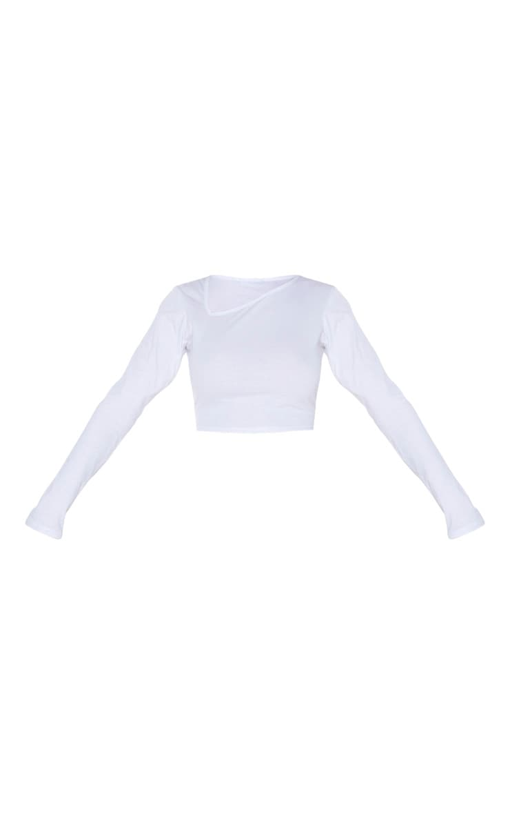 White Jersey Slashed Neck Long Sleeve Crop Top 5