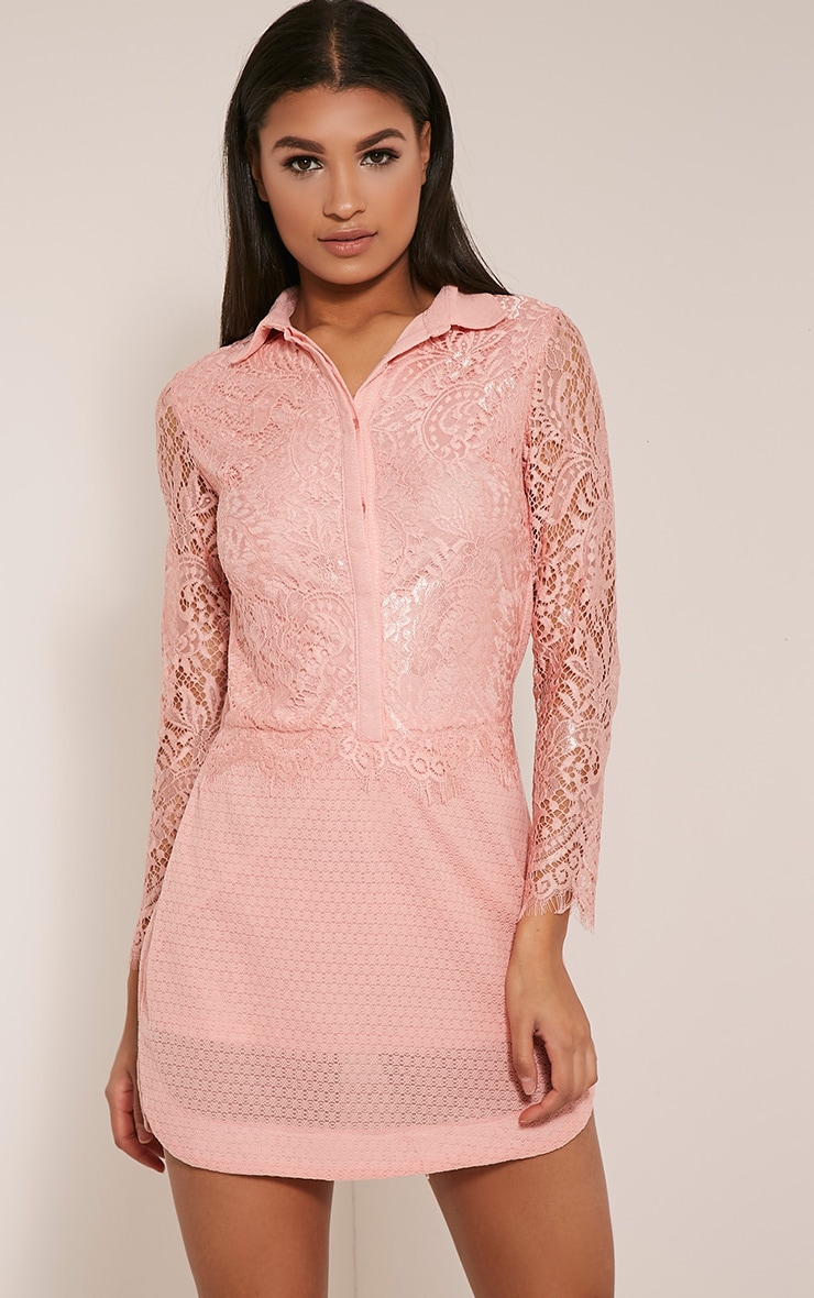 Gracey Blush Lace Detail Long Sleeve Shirt Dress 1
