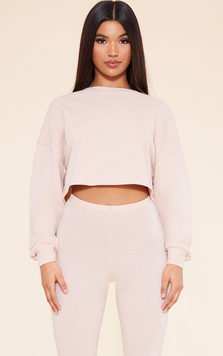 RECYCLED Deep Nude Crop Sweater