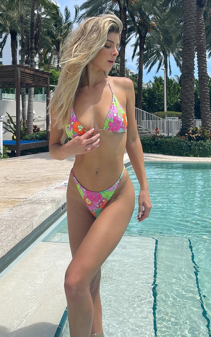 Multi Floral Padded Triangle Bikini Top 3