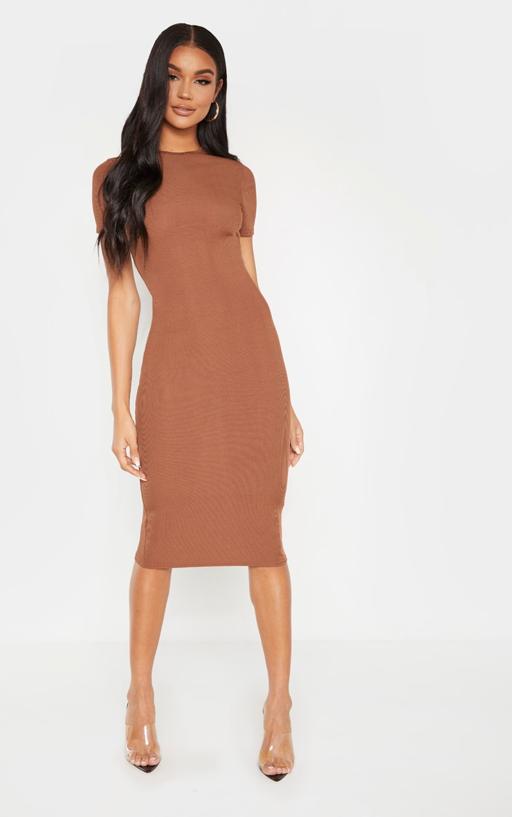 chocolate-ribbed-crew-neck-midi-dress by prettylittlething