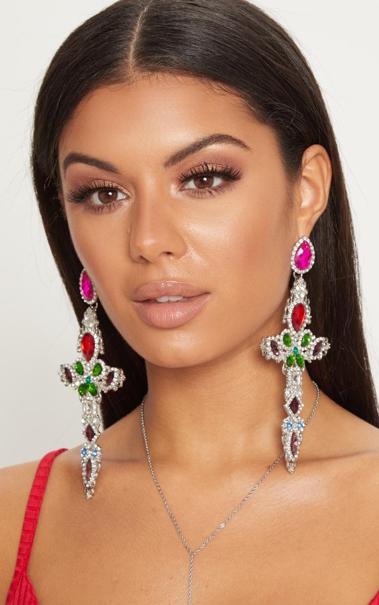 Multi Colour Gem Oversize Cross Earrings 2