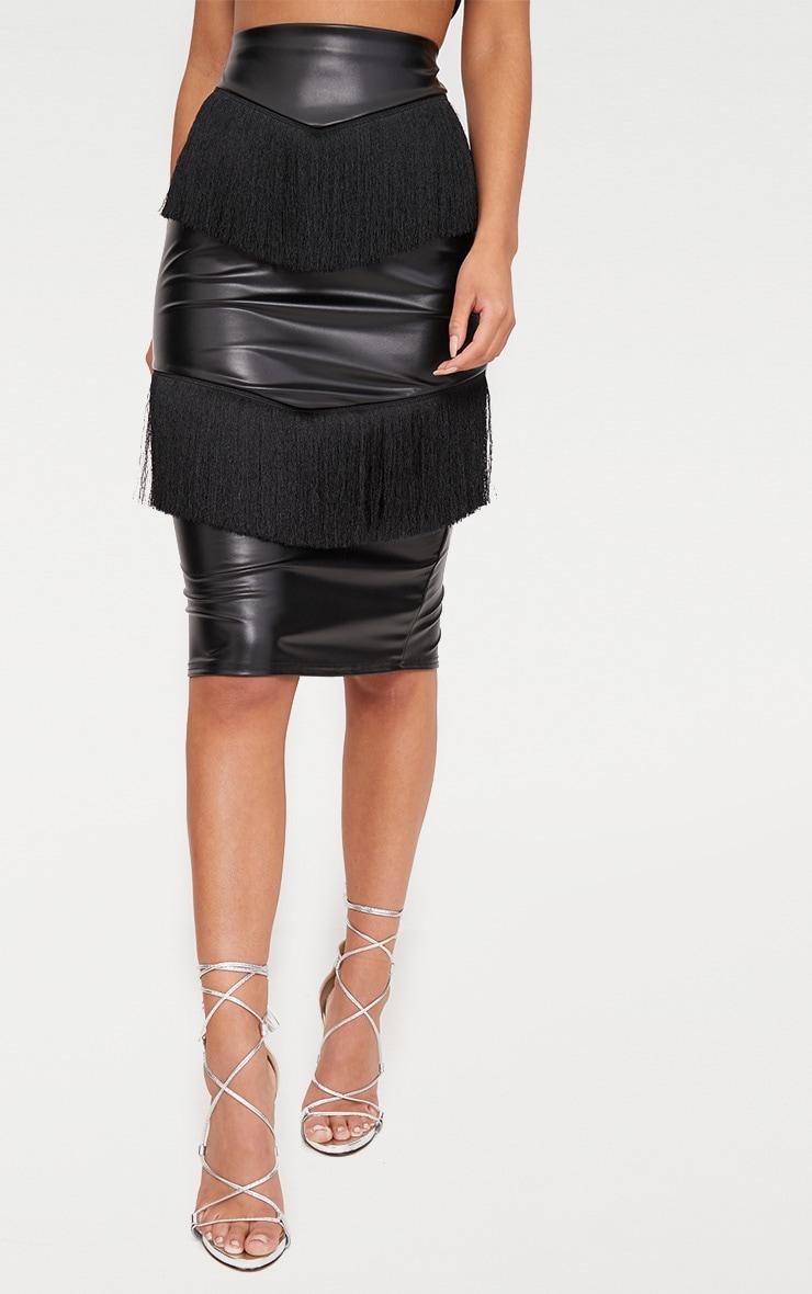 Black PU Fringe Detail Midi Skirt  2