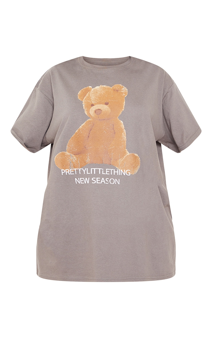 PRETTYLITTLETHING Charcoal Teddy Bear T Shirt 5