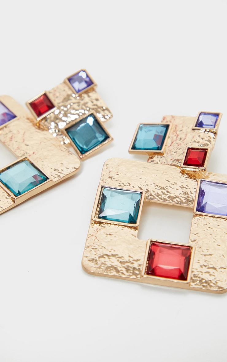 Gold Multi Gemstone Square Door Knocker Earring 3
