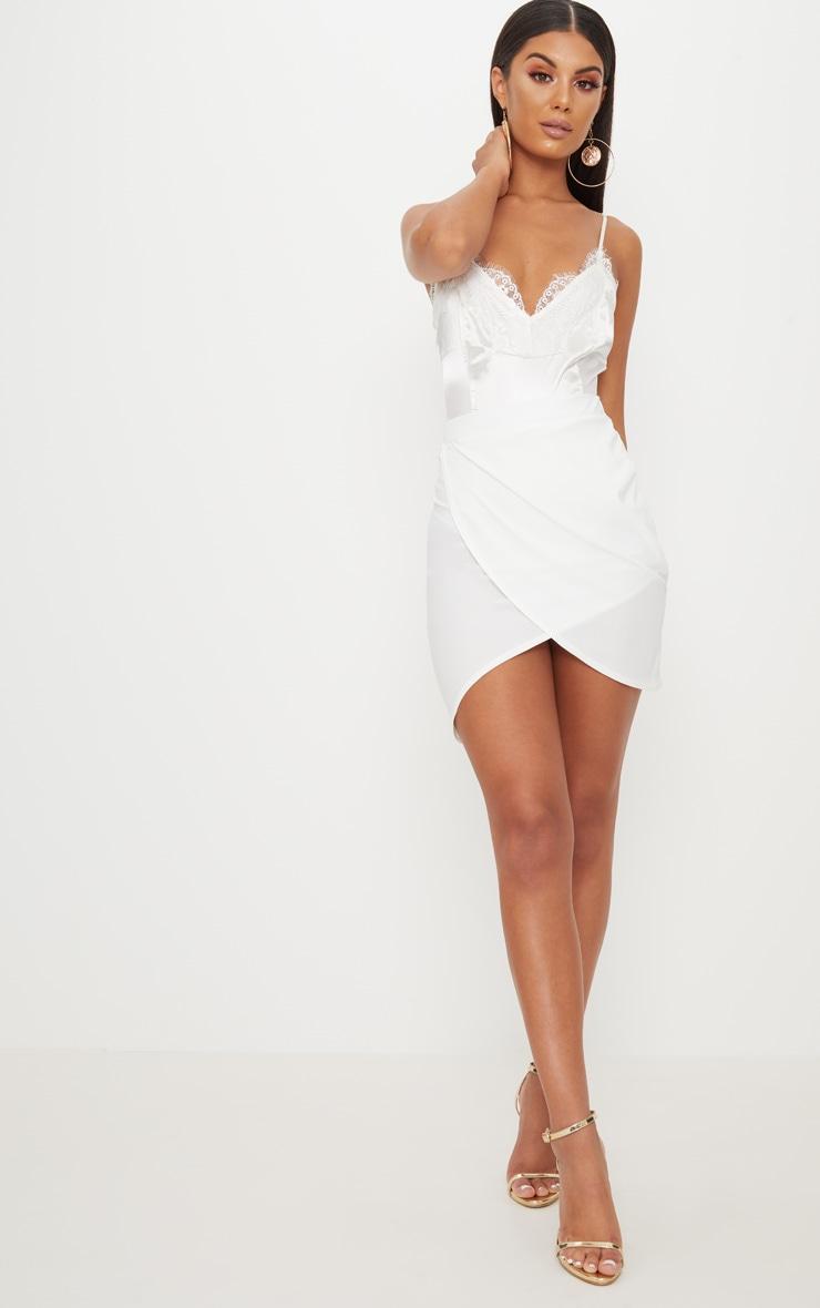 Cream Crepe Asymmetric Hem Wrap Skirt 5