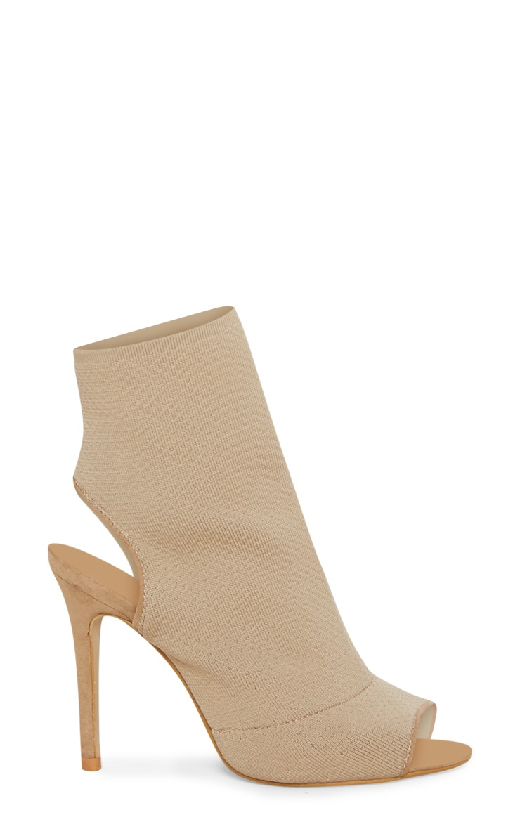 Beige Knit Peeptoe Shoe Boot 3