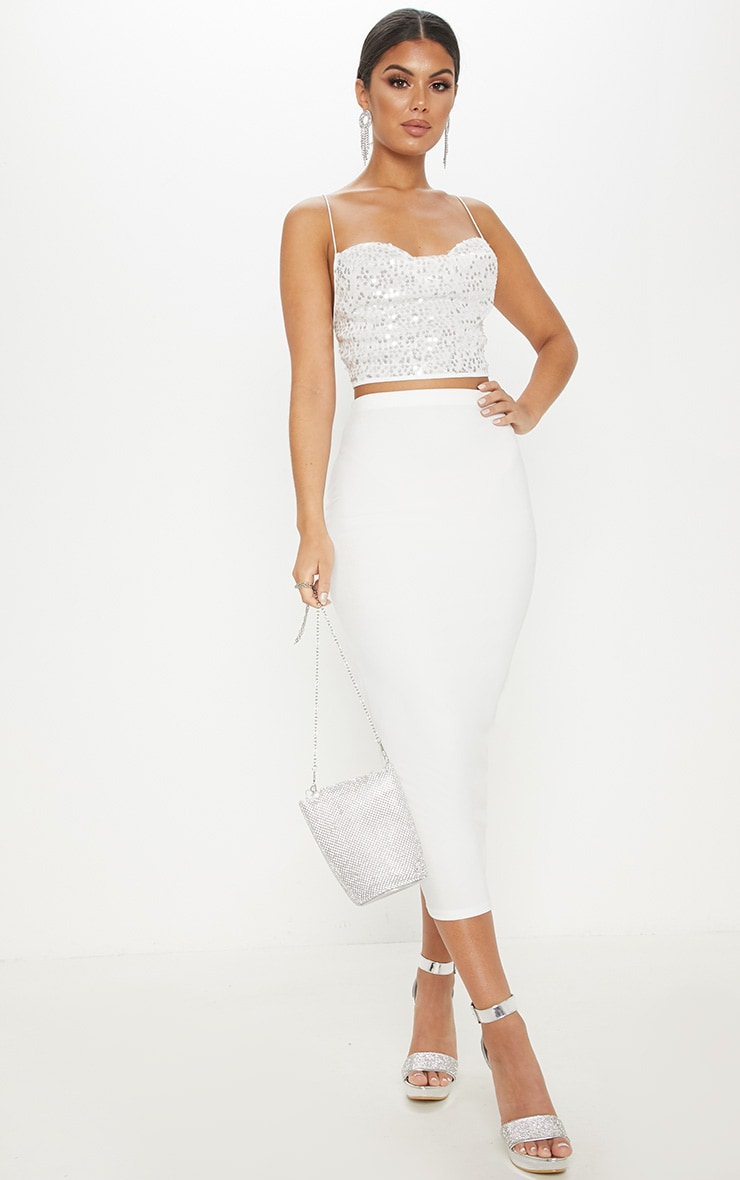 White Cowl Neck Sequin Strappy Crop Top 4