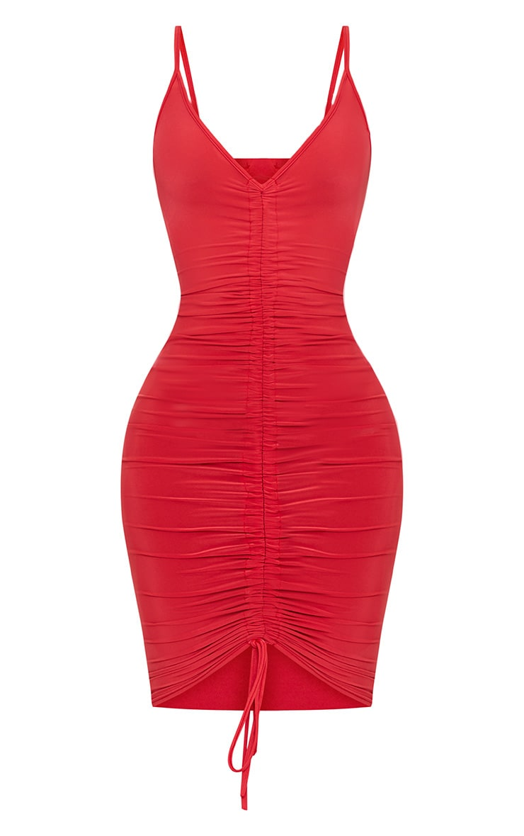 Shape Red Slinky Ruched Strappy Midi Dress 3