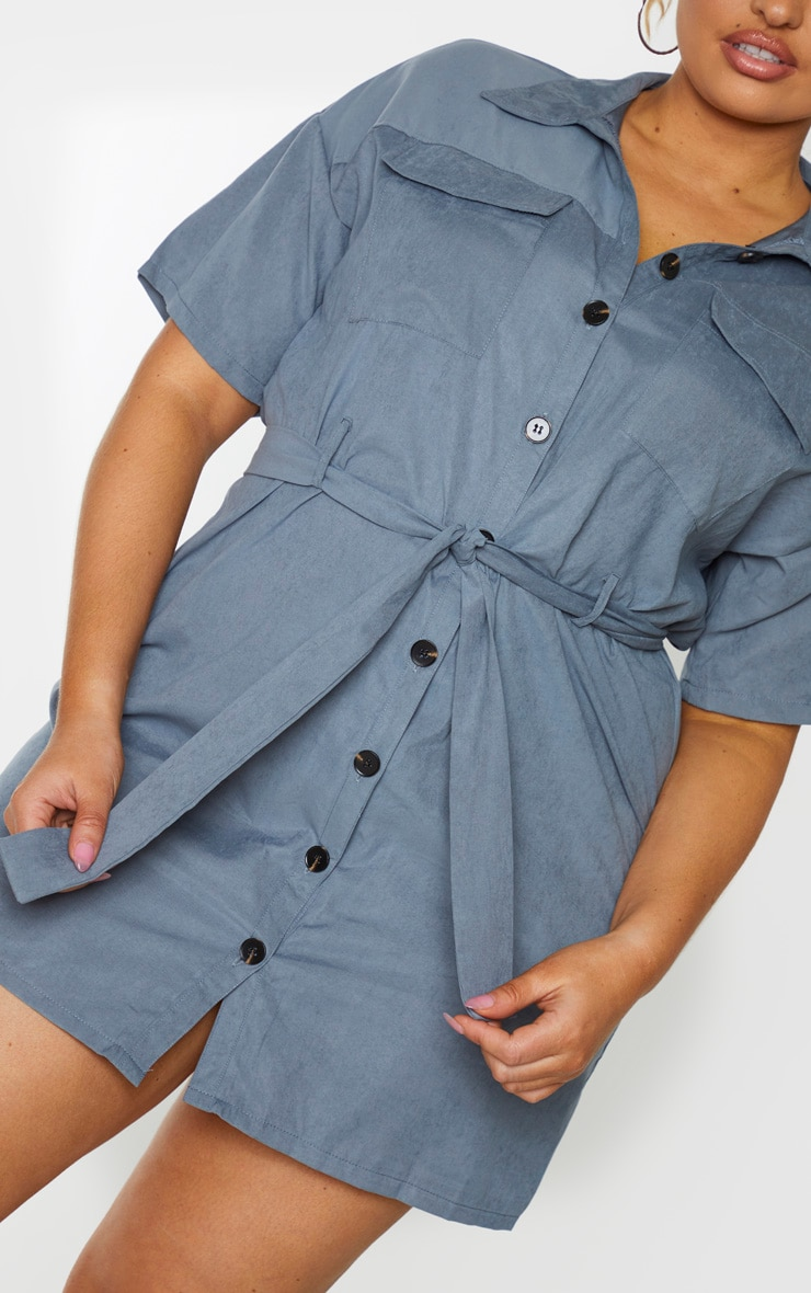 Plus Dusty Blue Faux Suede Utility Shirt Dress 4