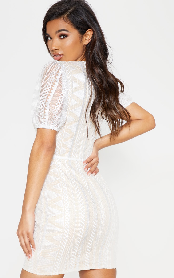 White Lace Puff Sleeve Bodycon Dress 3