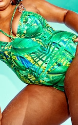 Plus Green Tropical Gold Trim Underwired Swimsuit 4