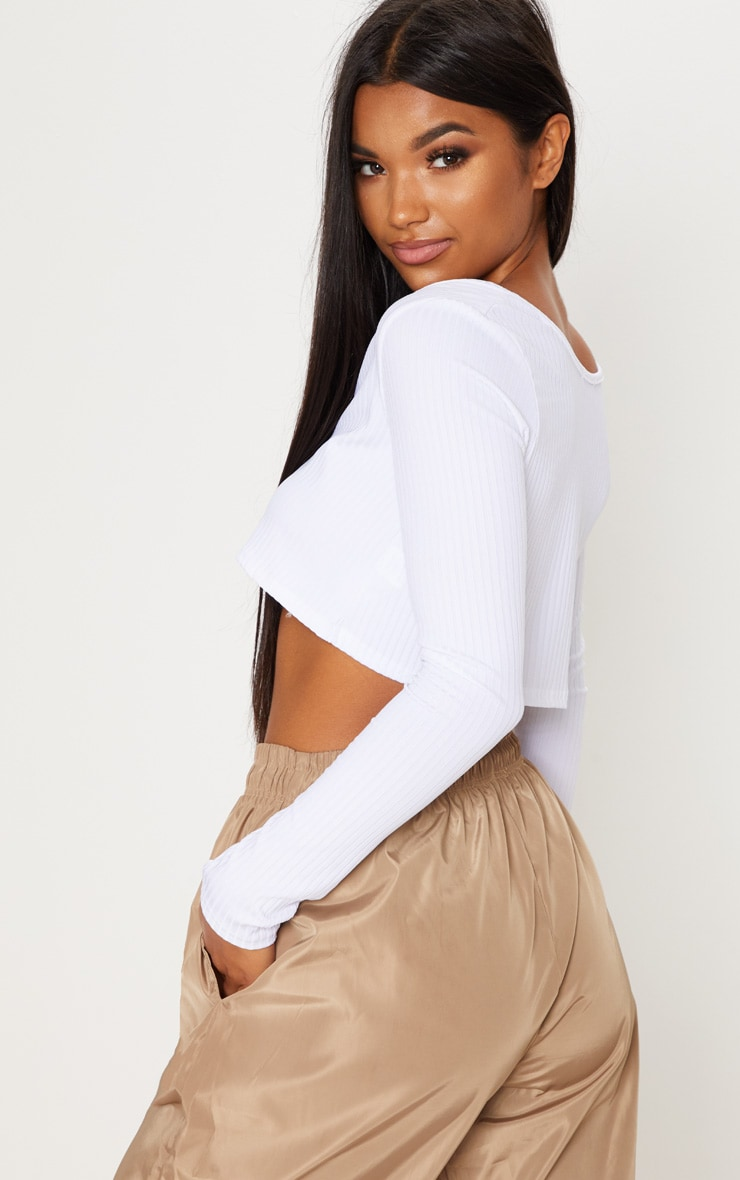 White Long Sleeve Rib Raw V Crop Top 2